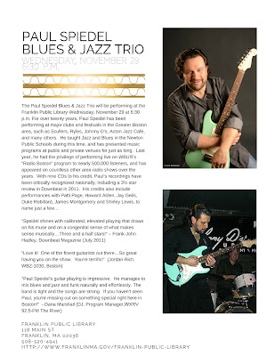 Franklin Library: Paul Speidel Blues & Jazz Trio, Nov 29