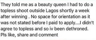 Another Nigerian Beauty Queen Dethroned for Allegedly Refusing to Do a Topless Photo-shoot
