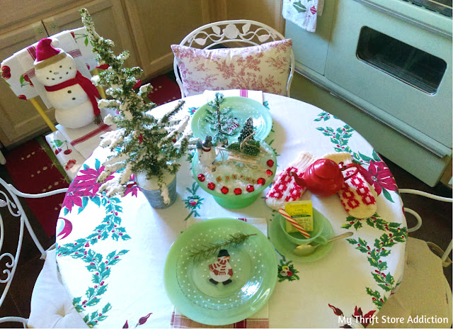 whimsical French snowman Christmas tablescape