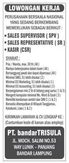 Bursa Kerja PT. BandarTrisula Lampung