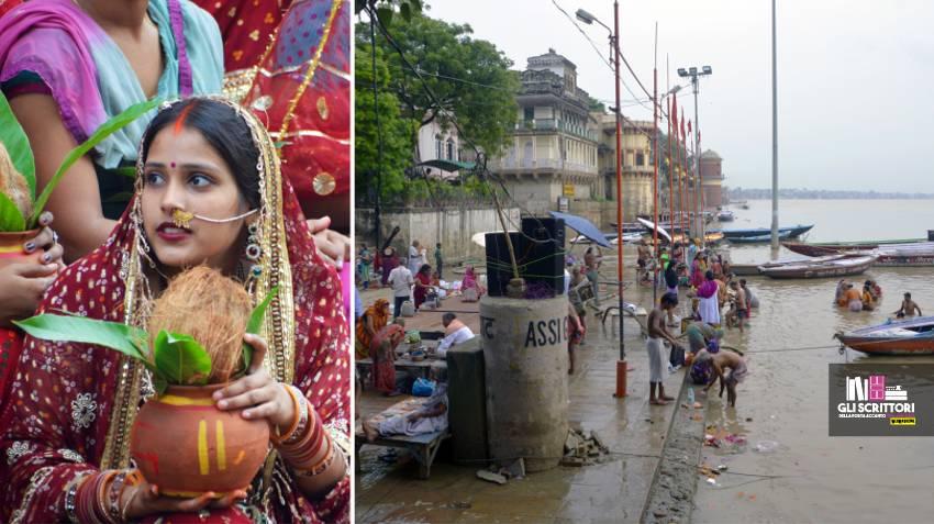Una ragazza alla cerimonia di saluto alla Grande Madre, il Gange.