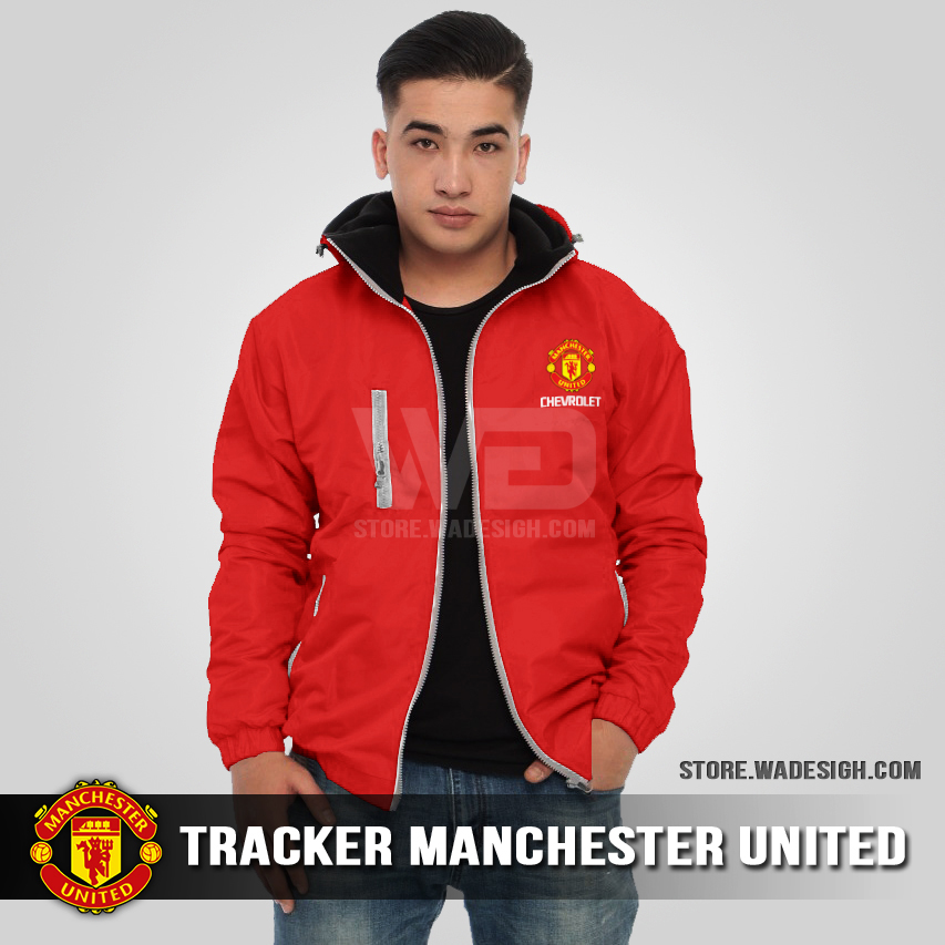 Jaket Tracker Waterproof Manchester United Merah