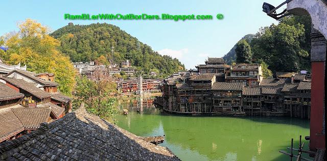 View of town from Rainbow Hongqiao Bridge, Phoenix Fenghuang County, Hunan, China