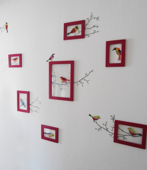Wallart Wandschmuck Dekoration Vögel Wandtattoo