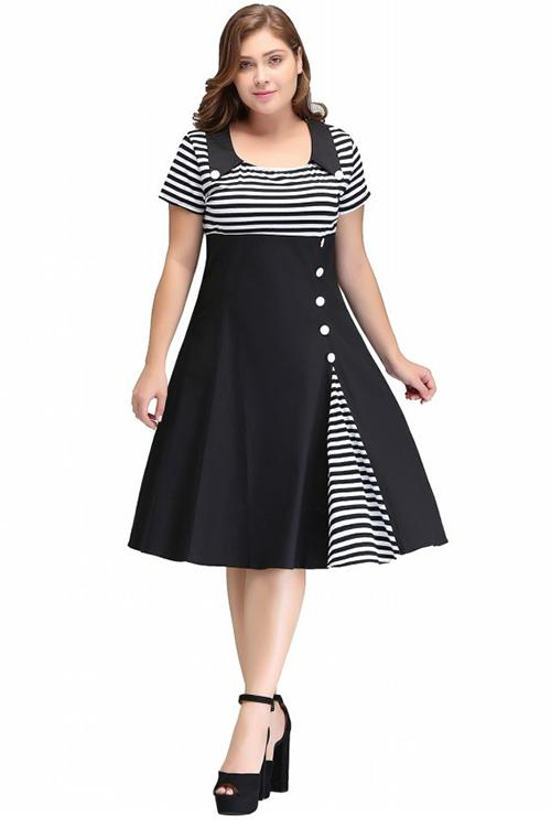 Vintage O Neck Plus Size Women Clothing Summer Dress Rockabilly Dress Button Striped Vestidos Audrey Hepburn Tunic