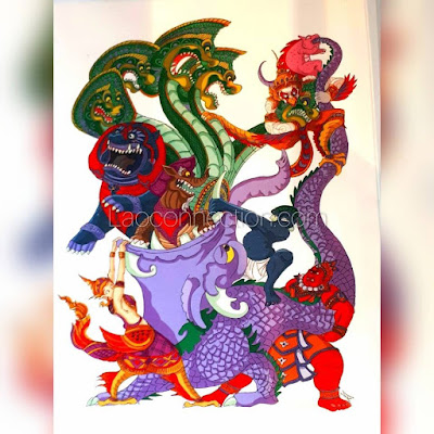 Temple and Himmapan Forest creatures from Buddhist mythology