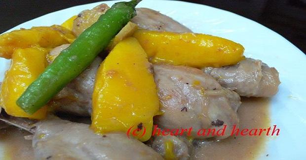 Chicken And Mangoes In Coconut Cream (Ginataang Manok At Mangga) Recipe