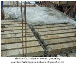 semen grounting pada celah panel lantai