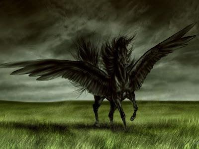 Pintura de un Pegaso negro
