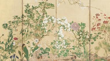 Flores de primavera en un biombo japonés