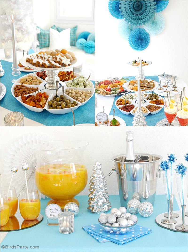Une Soirée Cocktail et Recettes Apéritifs de Fêtes et table décor en argent et bleu - Parfait pour Noel et les fêtes de fin d'année! | BirdsParty.fr