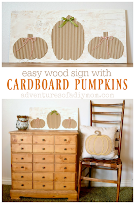 easy wood sign with pumpkin cardboards collage