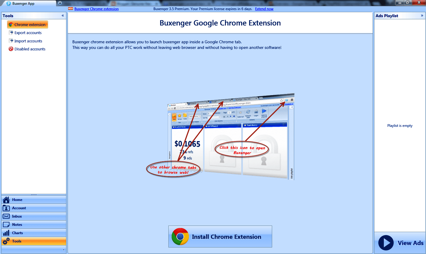 Google chrome buxenger addon