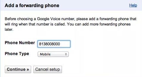 google voice forwarding number
