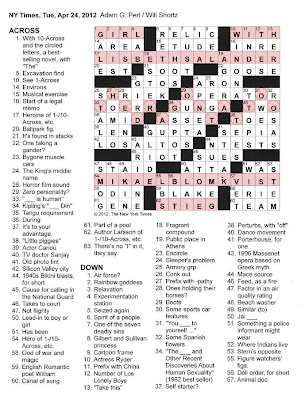 The New York Times Crossword in Gothic: April 2012