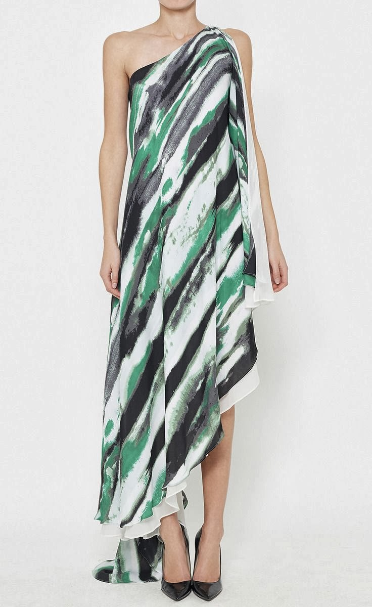 Halston Heritage Green, Grey And Multicolor Dress