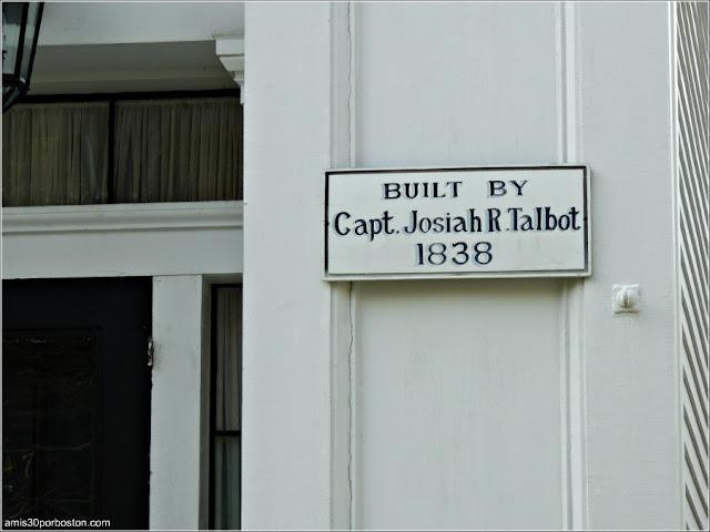 Placa Mansión Bristol Capt. Josiah R. Talbot