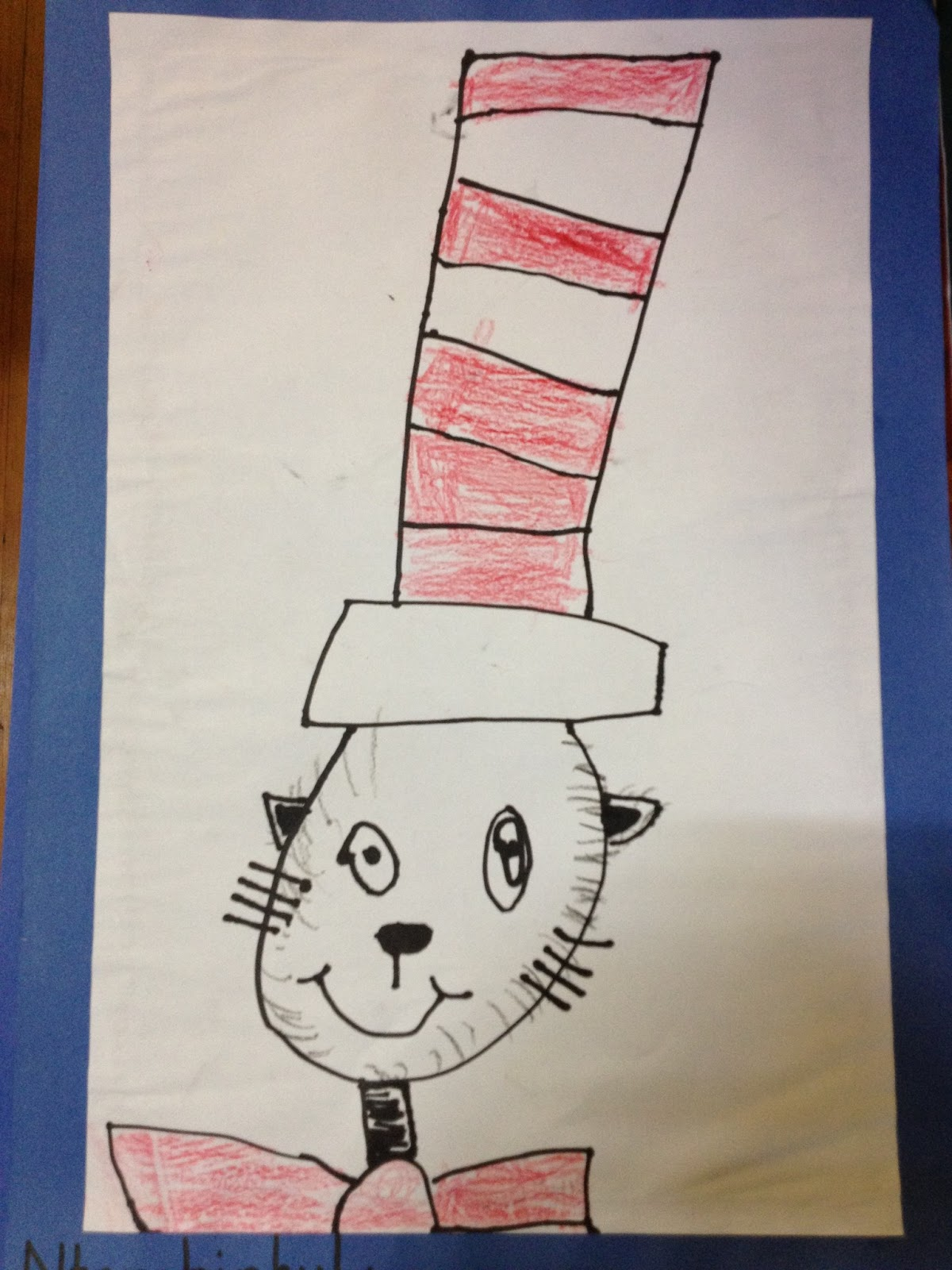 It is a picture of Magic Drawing Cat In The Hat