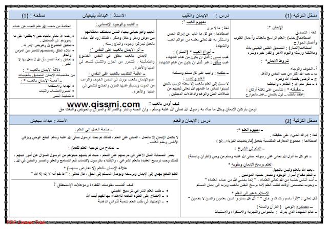تلاخيص دروس النربية الإسلامية أولى باك
