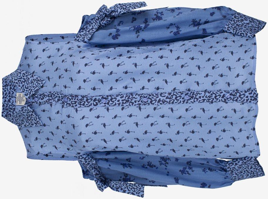 Playful Blue Cutout Sleeve Blouse With Flamingos