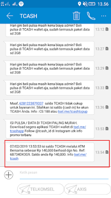 Bukti Transaksi Berhasil Transfer Saldo TCASH Wallet dari Mbanking BNI