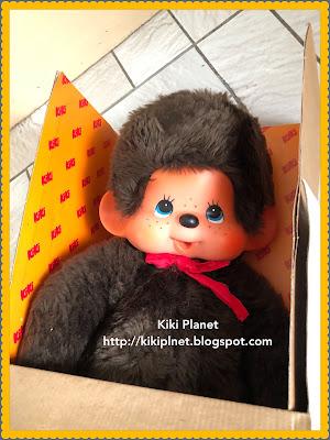 grand kiki 45 cm neuf et dans sa boite, vintage, collection, collector, monchhichi, grand kiki aux yeux bleus