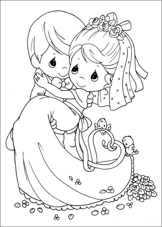 Newlyweds precious moments coloring child coloring for Precious moments coloring page