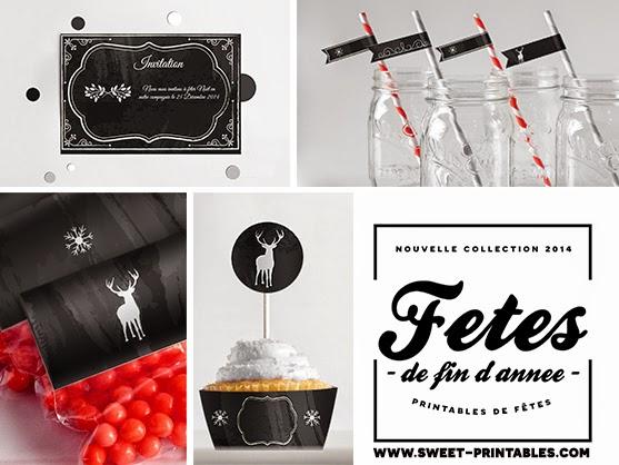 Sweet printables d coration pour votre table de f te de for Decoration fete de fin d annee