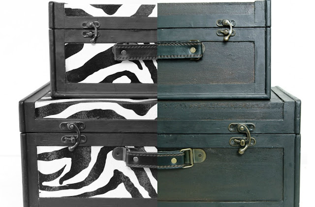 Transforming wood zebra boxes into the perfect vintage inspired storage. - Littlehouseoffour.