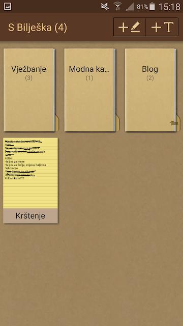 Android aplikacije na mobitelu - S Bilješka