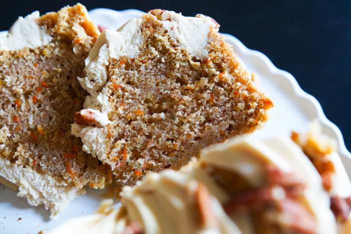 Carrot Bundt Cake with Salted Caramel Cream Cheese Frosting ♥ #nutfree