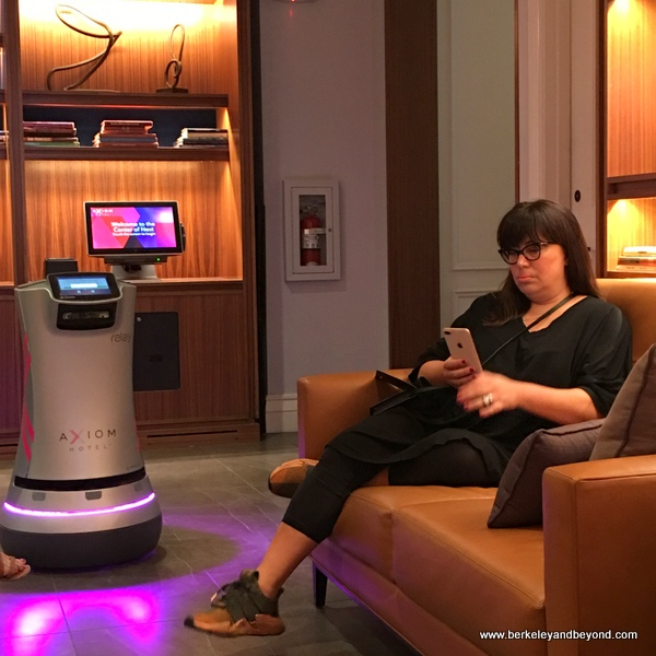 lobby of Axiom Hotel with delivery robot in San Francisco, California