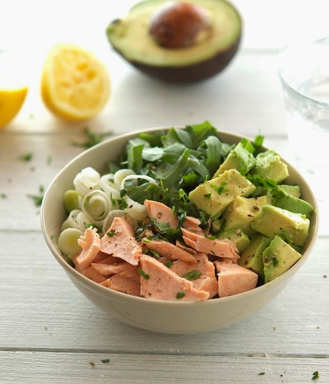 Salmon, Avocado and Arugula Salad with Lemon-Parsley Dressing