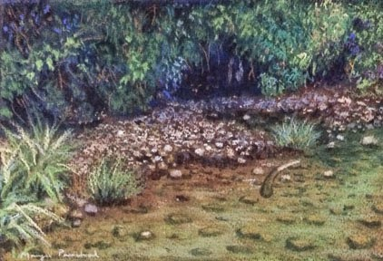 Soft pastel painting of Coorg Landscape with pebbles under water. By Manju Panchal