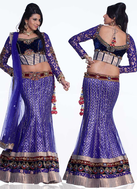 Blue Net Fish Cut Lehenga Choli