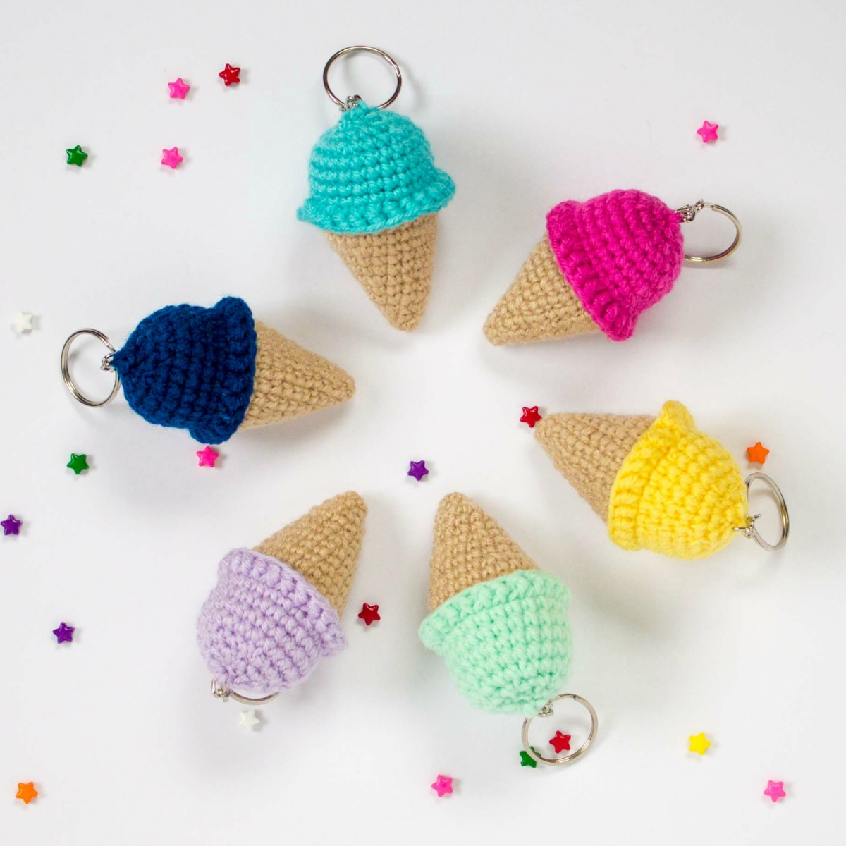 Free Crochet Keychain Pattern- Ice Cream Cone - thefriendlyredfox.com f42be6e80200