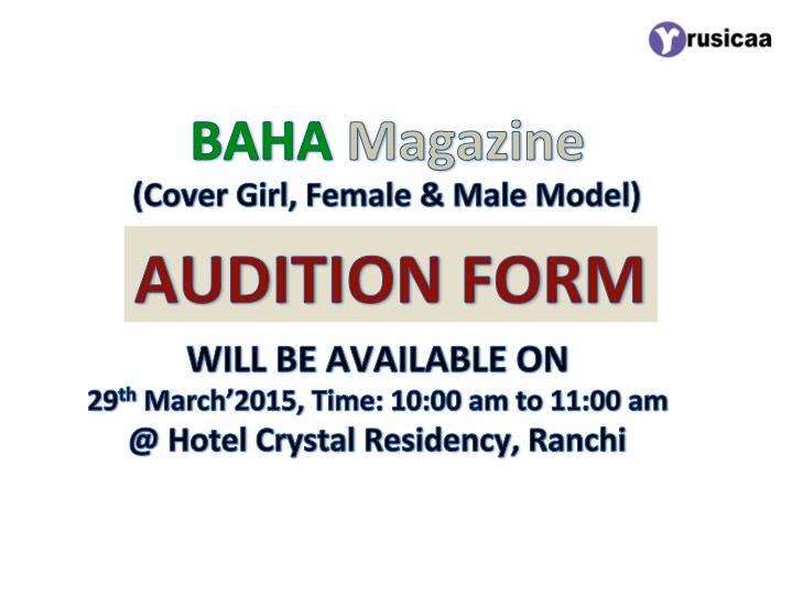 BAHA Magazine audition Form - Rusicaa TV - audition form