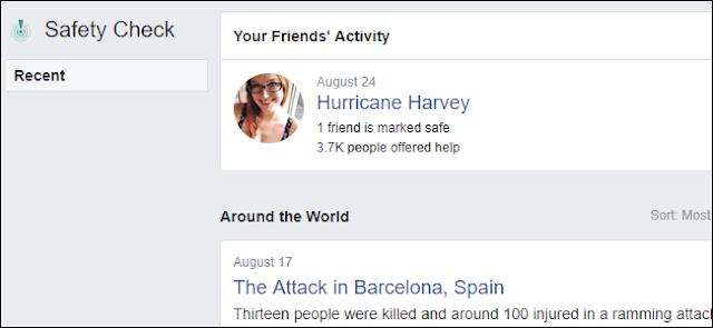 sezione Controllo della sicurezza su Facebook