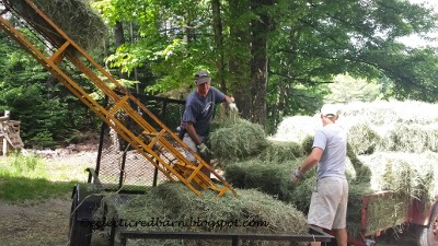 Eclectic Red Barn: Getting hay off trailer
