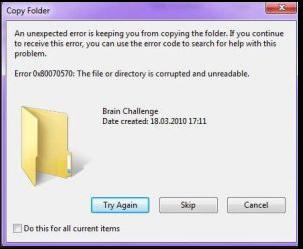 إصلاح خطأ 0x80070570 في نظام التشغيل Windows 10 و 8.1 و 7