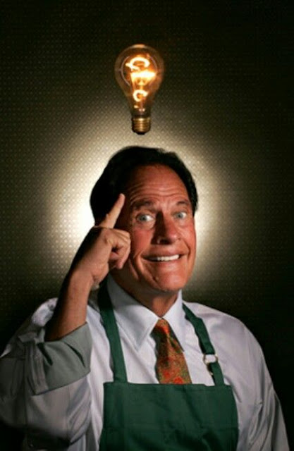 Photo of Ron Popeil thinking of such fabulous ideas, a light bulb appears above his head. As Seen on TV and other stories of marketing the American Dream. marchmatron.com