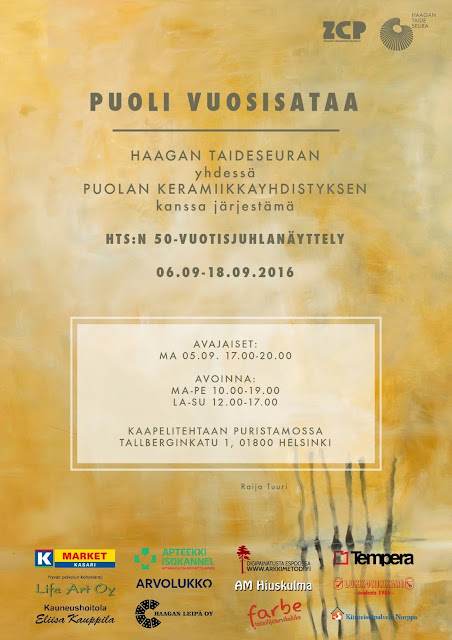 Haagan Taideseuran 50-vuotisjuhlanäyttely yhdessä Puolan keramiikkayhdistyksen kanssa