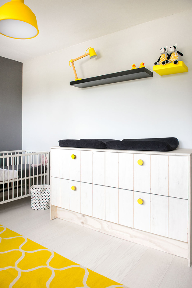Scandinavian interior, kids room, yellow and black look,