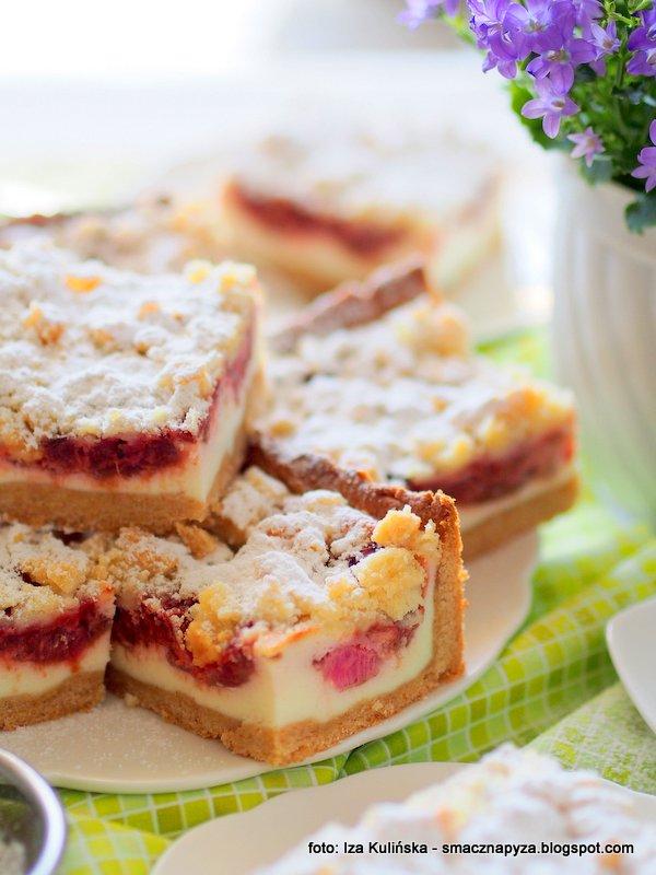 domowa cukiernia, jak z cukierni, pyszny placek domowy, ciasto z twarogiem i owocami, rabarbar, kruche ciasto
