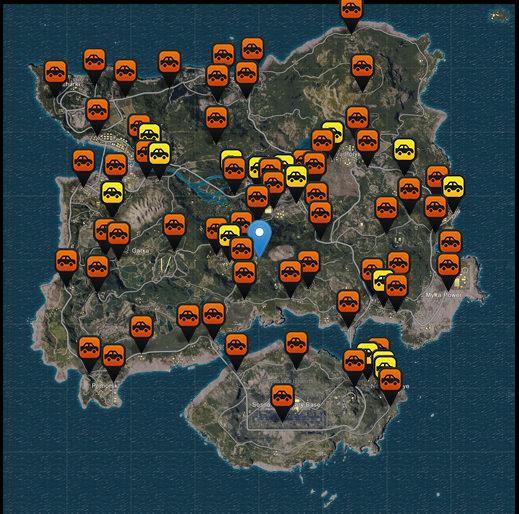 pubg arabaların haritadaki yerleri