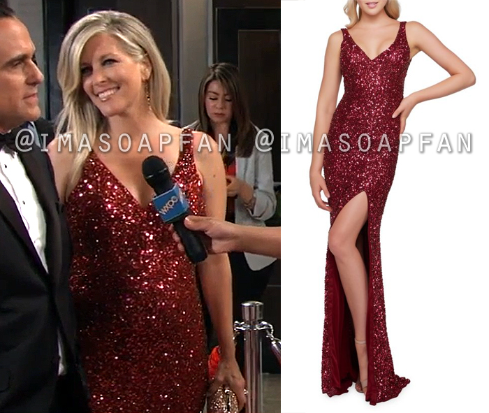 Carly Corinthos, Laura Wright, Red Sequined Gown, Nurses Ball, Dress, General Hospital, GH