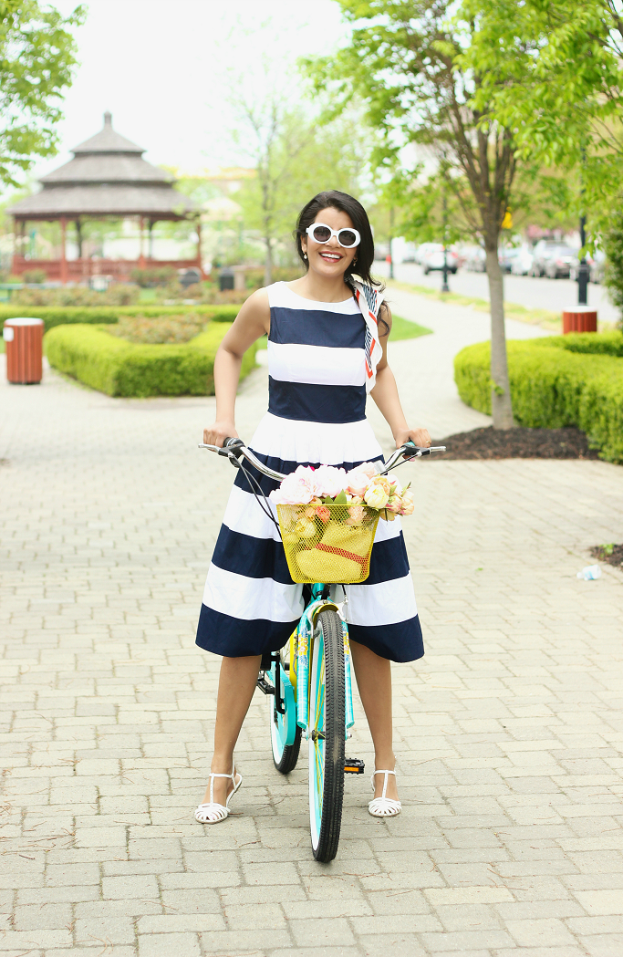 Fit & Flare Dress For Spring, Striped fit and flare dress, eShakti Dress Coupon, Blue and white striped dress, nautical dress for summer, blue and yellow bike for women, pretty cruisers for women