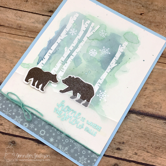 Snowy Bear Card by Jennifer Jackson | Serene Silhouettes Stamp Set by Newton's Nook Designs #newtonsnook