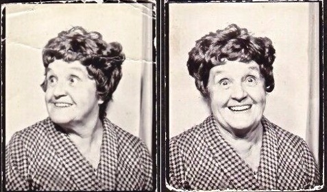 Cute old lady posing in a photobooth with bad wig and a huge smile. c. 1960s I've Fallen Other stories of Matronly Women. marchmatron.com